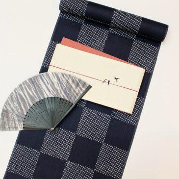 浴衣コーディネート 市松に燕(ツバメ)