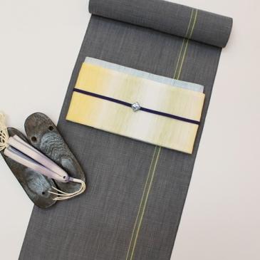 夏コーディネート 一本縞の小千谷縮でクールな装い