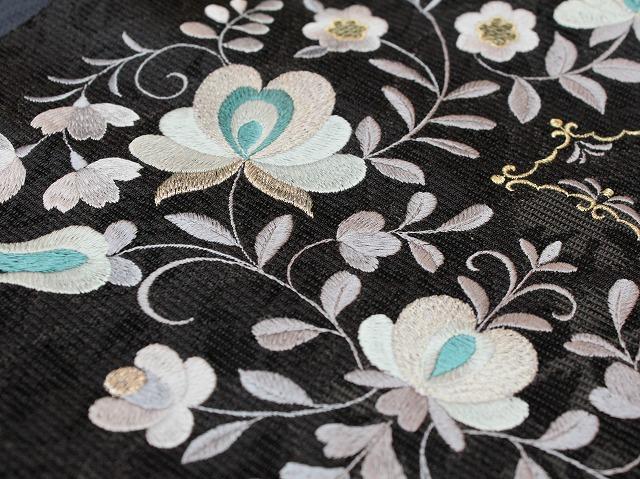 八寸名古屋帯 刺繍